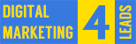 Digital Marketing 4 Leads horizontal menu. Blue background with yellow writing.